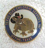 "Texas Elks Childrens Services Ottine Armadillo Pin Back Button Souvenir  1 3/8"""