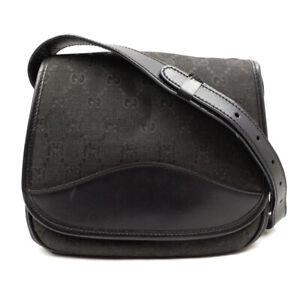 GUCCI Shoulder Bag Leather Canvas GGpattern Black