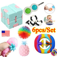 6pcs Sensory Fidget Toys Set  Baby Simple Dimple Toy Stress Relief Anti-Anxiety