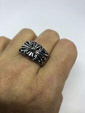 1980's Vintage Large Stainless Steel Size 11.75 Men's Celtic Flower Ring