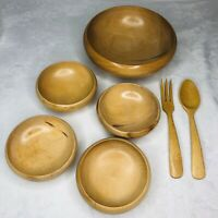 Wood Salad Bowl 7 Piece Set Japan 1 Serving 4 Small Bowls Fork Spoon