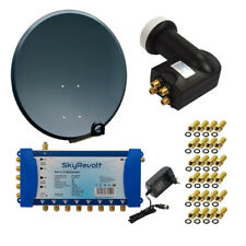 80cm Digitale SAT Anlage Schüssel Quattro LNB 5/8 MULTISCHALTER 8 Teilnehmer HD
