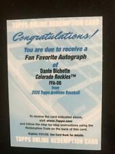 Dante Bichette Rockies Fan Favorite Autograph Redemption Card