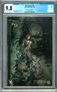 "Witchblade #10 (1996) CGC 9.8  White Pages  Turner  ""Darkness"" #0 Variant Cover"