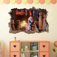 Frozen Olaf Sven 3D Smashed Wall Sticker Decal Home Decor Art Mural Disney J1270