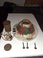 Antique Christmas Tree Stand Cast Iron Poinsettias White Electric
