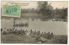 Boat, People waiting at the River, Senegal, Africa, 1921 to Italy