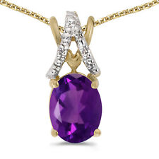 "10k Yellow Gold Oval Amethyst And Diamond Pendant with 16"" Chain"