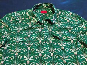 "Mens Pringle Shirt Short Sleeve Size 16"" 41cm's M Green Thistle Of Scotland"