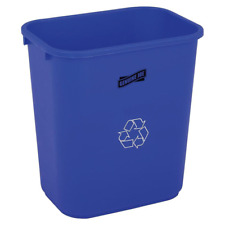 28 Qt. Plastic Indoor Recycling Bin Storage Trashcan Blue Garage Kitchen Home