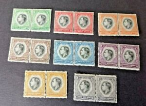 South West Africa 1937 Coronation Pairs Mint Hinged