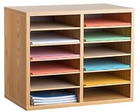 AdirOffice Medium Oak Wood 12 Compartment Adjustable Literature Organizer