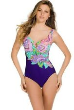 NWT Ret $160 Sz 10 MiracleSuit Escape Swimsuit Paisley-Print Ruched One piece