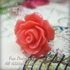 22mm Large Kitsch Carved Rose Flower Ring. Chic Vintage Quality Band Floral