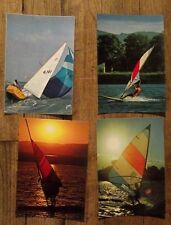Lot 4 cartes postales vintage,planche à voile, regates,   CPSM