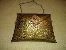 Vintage Brass Metal Pocketbook-Victorian Style Look & Pattern-Cloth Interior-WOW