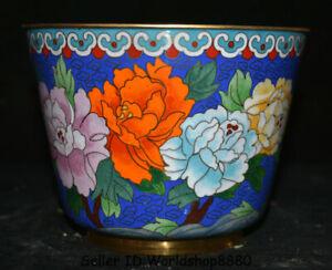 "6.6"" Old China Blue Cloisonne Enamel Copper Dynasty Palace Flower Pot Jar Crock"