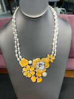 Vintage silver large Yellow Beaded Bold Ab Rhinestone bib statement necklace NWT