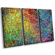 Multi-Coloured Abstract of Spectral Stripes Large Contemporary Canvas Wall Art