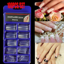 100 Flat French Coffin False Nail Tips Half Cover Acrylic Gel Tip Nails Us