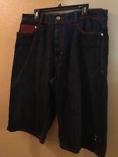 COOGI Men's Blue Denim Jean Shorts ~  Red Leather Pocket Design ~ Size 38