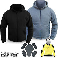 Motorcycle Hoodie Hoody Fully Protective Kavlar Lined Fleece Protection