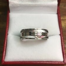14k White Gold Layer On Sterling Silver Wedding Diamond Cut Men ring Band S-8
