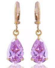 Goldtone Fun Fashion Pretty Pink Like Sapphire Drop Dangle Earrings