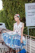 Korean Women's Fashion Cute Beach Print Bow Sleeveless Dress