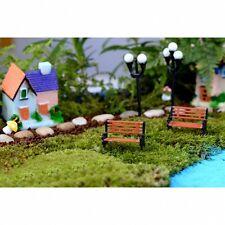 Dollhouse Miniature Fairy Garden terrarium Scale Tiny Bench Chair Decor 2pcs
