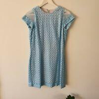 Vintage 60s Blue Raffia-Embroidered Floral Mini Shift Dress XS Sheer-Sleeve Boho