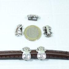 13 Abalorios Para Cuero Media Caña 17mm T195A Plata Tibetana Leather Cuoio