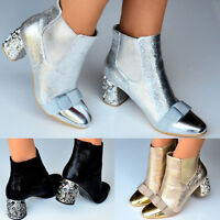 Ladies Metallic Low Mid Block Heel Chelsea Chunky Ankle Boots Evening Bow Shoes