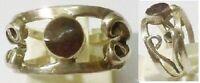 bague bijou vintage argent 925 poinçon déco relief pierre sertie T.52