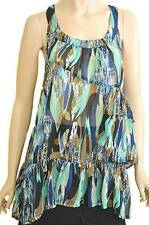 TEMT SZ 14 WOMENS Multi-coloured Print Ruffle Frill Tiered Long Sleeveless Top