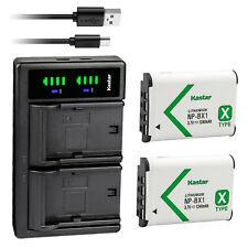 Kastar 2 NP-BX1 Battery & Charger for Sony DSC-RX100 DSC-H400 DSC-WX350 Vlog ZV1