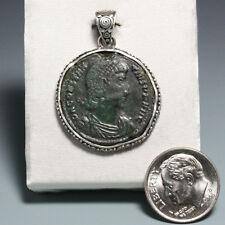 Ancient Roman Empire Coin Pendant, Sterling Silver, Constantius II