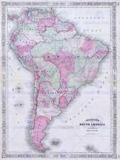 1863 JOHNSON'S MAP SOUTH AMERICA VINTAGE POSTER ART PRINT 2940PY