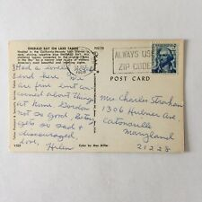Emerald Bay On Lake Tahoe Postmark Long Beach 1968 Posted Postcard