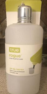 True Rogue Plastic Flask 16 Oz - Aluminum Shot Glass Cap Durable