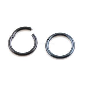 20G 18G 16G 14G Black Color HINGED Segment Nose Ring Septum Clicker Daith Hoop