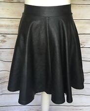 Ladies Black Soft Faux Leather Skater Flare Flippy Mini Skirt 8 UK By Topshop
