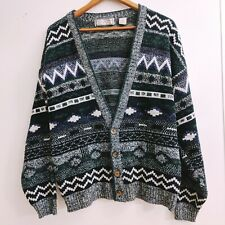 Vintage Micheal Gerald Geometric Aztec Cardigan Sweater Large Gray Green E3