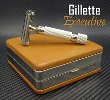 GORGEOUS!!  1949 Gillette Executive Safety Razor in Fancy Ostrich Case - Rhodium