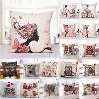 Vintage Cotton Linen Owl Cushion Cover Throw Pillow Case Sofa Home Decor Gifts