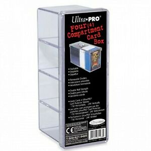Ultra Pro Trading Card 4 Compartment Card Storage Box Clear Holds 240 Cards!