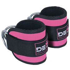 ANKLE D RING STRAPS Thigh Leg Pulley Lifting Attachment Cable Padded Gym Pink