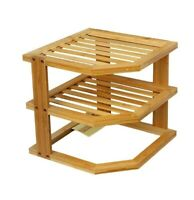 BAMBOO WOODEN 3 TIER PLATE DISH RACK STORAGE