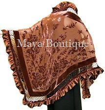 Copper Shawl Scarf Wrap Silk Burnout Velvet Triangle Ruffles Maya Matazaro