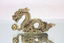 Miniature Figurine Brass Chinese Dragon Animal Metalwork Art #58